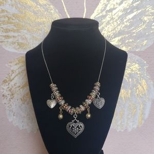 Silver Heart Scroll Necklace